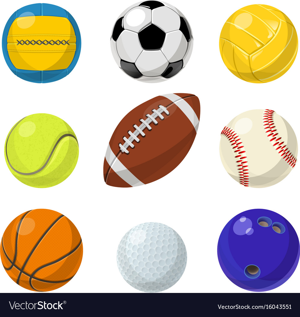 Sport equipment different balls in cartoon style