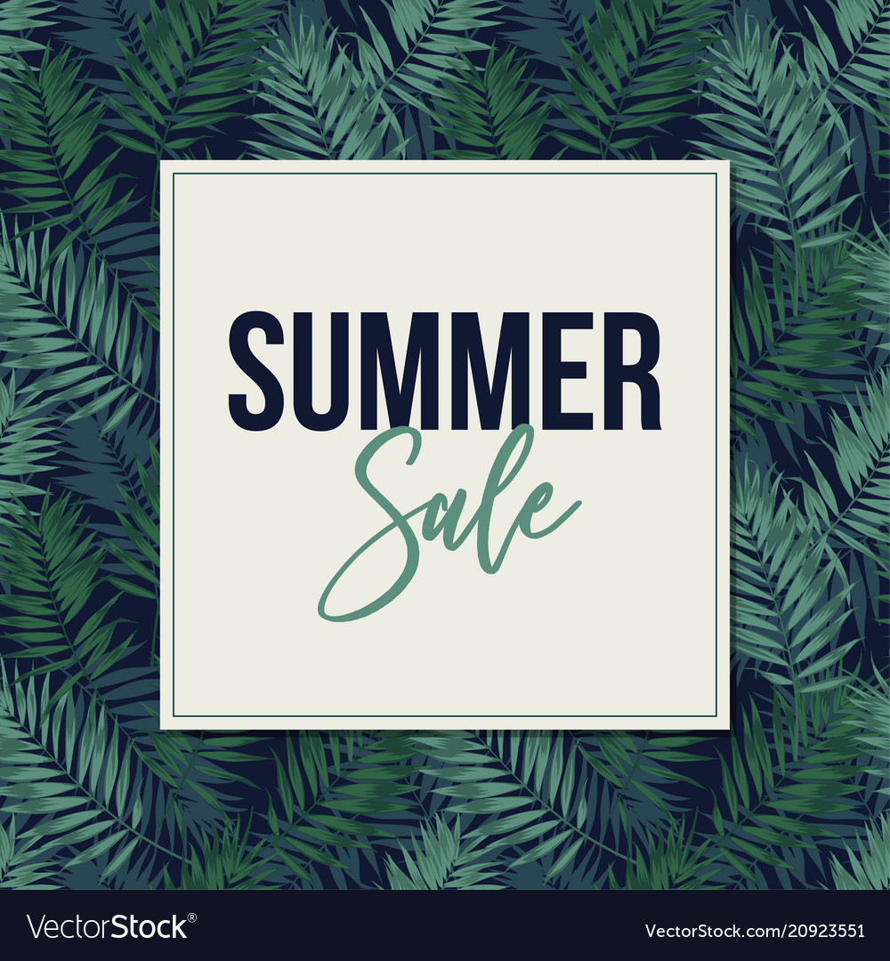 Summer sale web banner poster with tropical