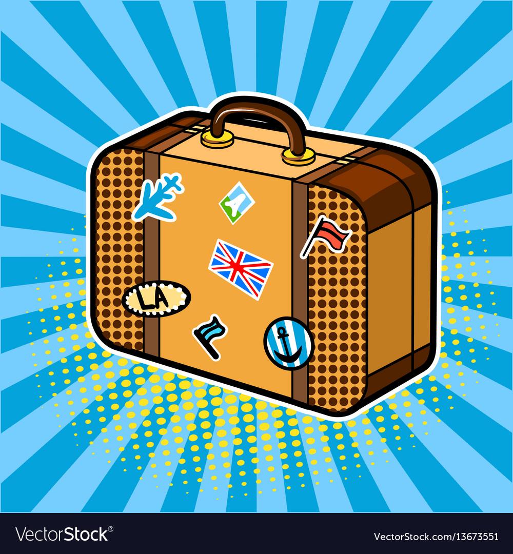 Traveler suitcase comic book style