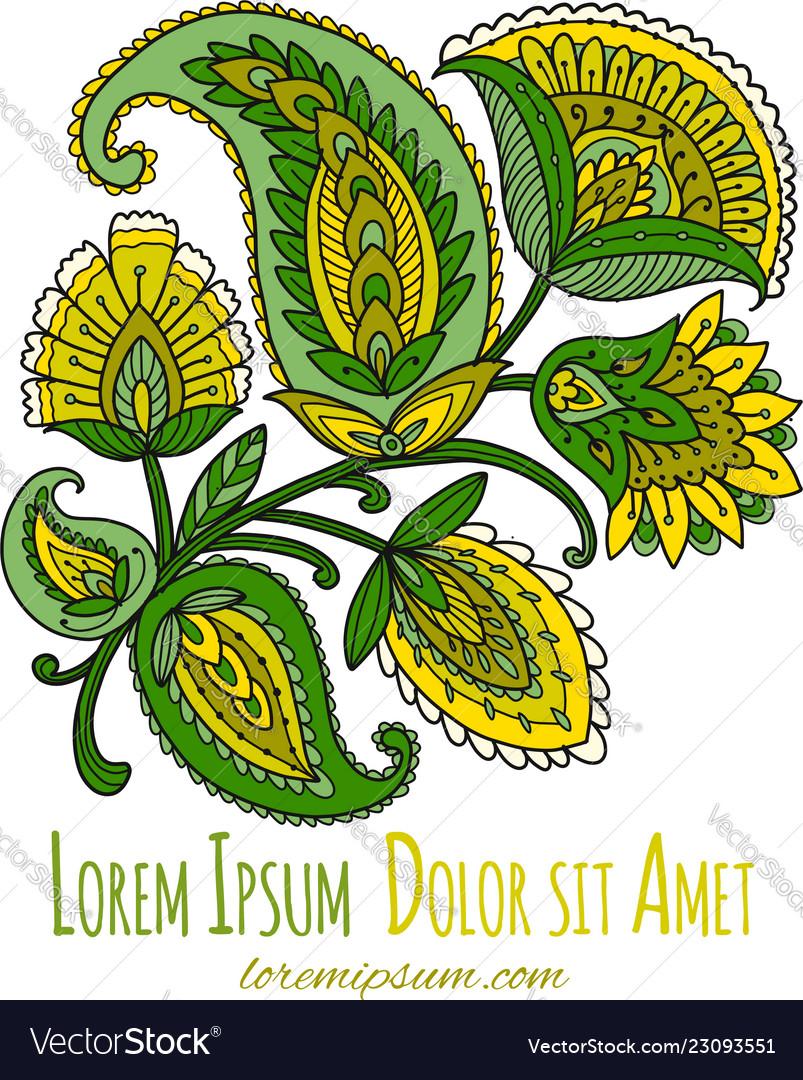 Vintage magic flowers sketch for your design