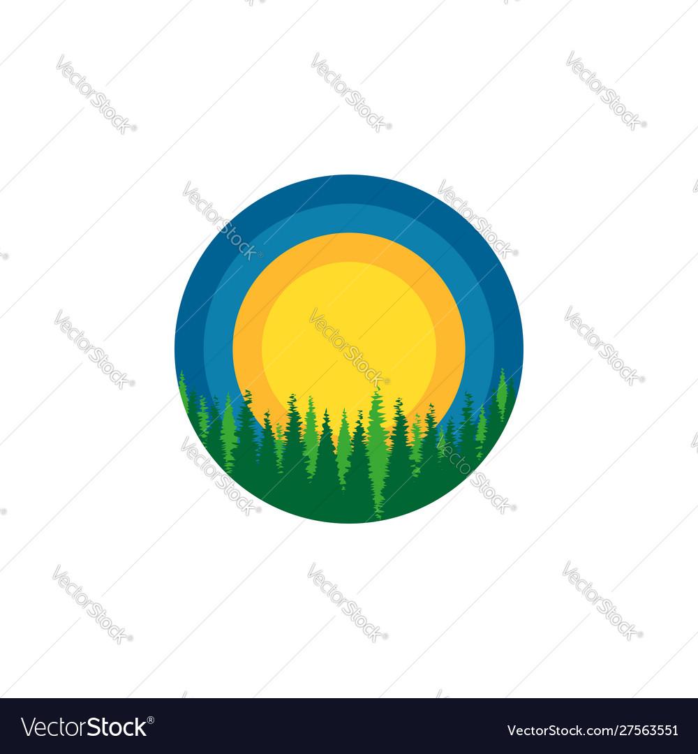 Wildlife round logo dense siberian forest