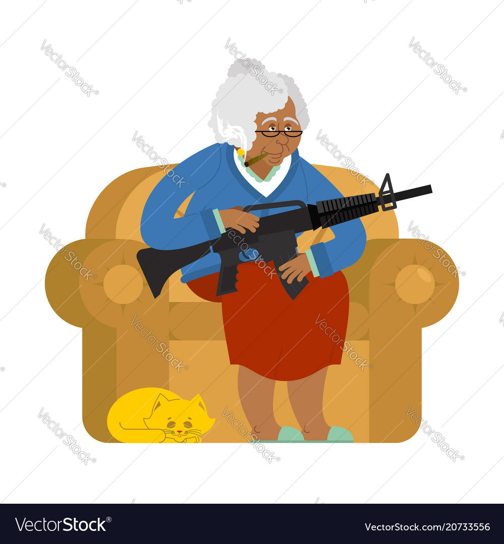 African american grandmother with gun old woman