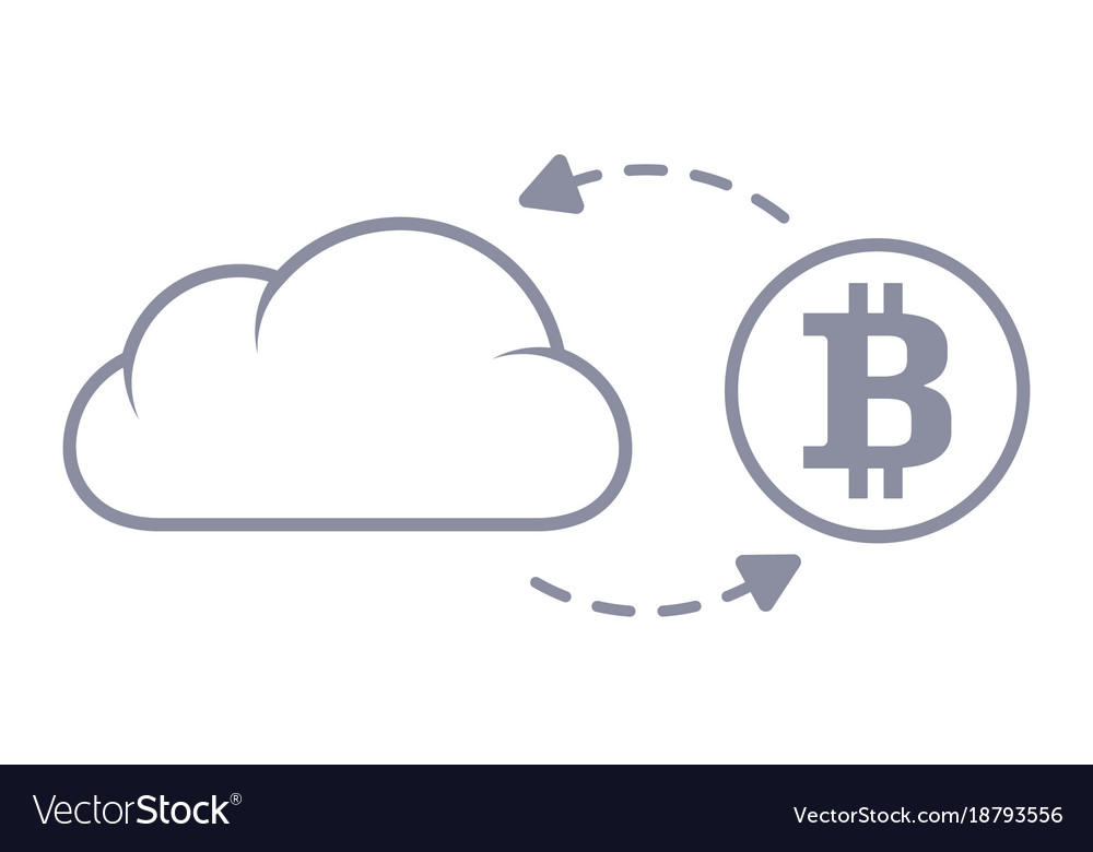 Bitcoin sync with the cloud line style icon