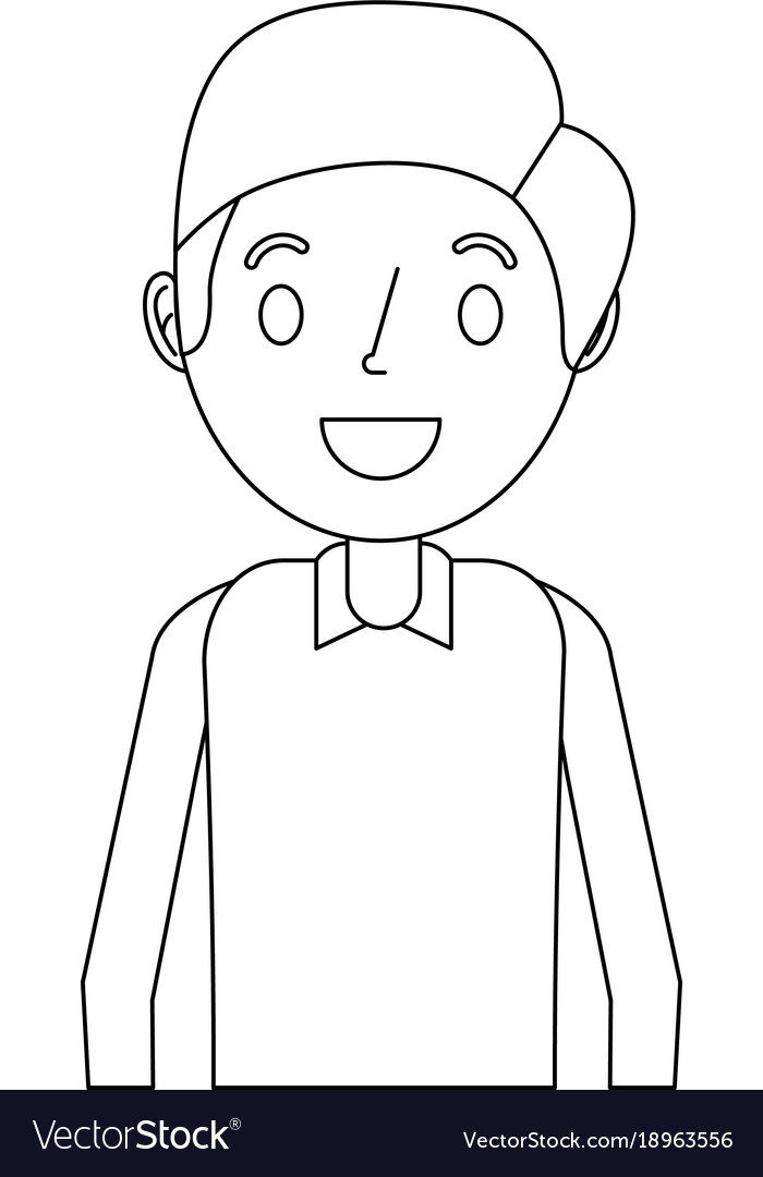 Cartoon smiling man young character portrait