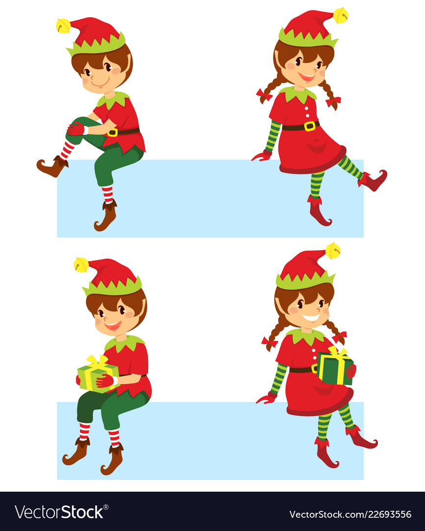 Christmas elves banner Royalty Free Vector Image