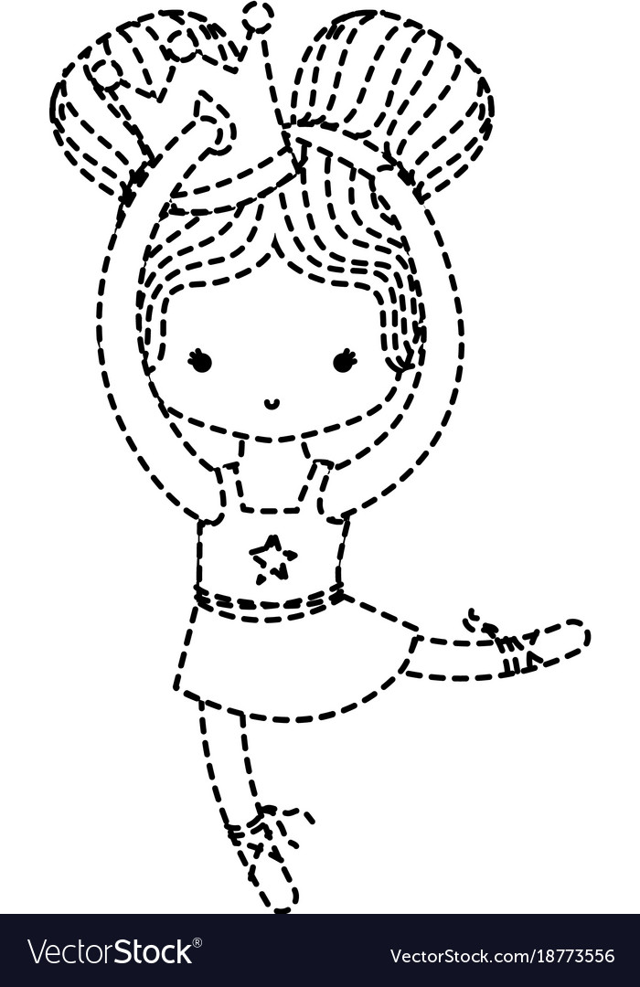Dotted shape girl practice perfomance with crown