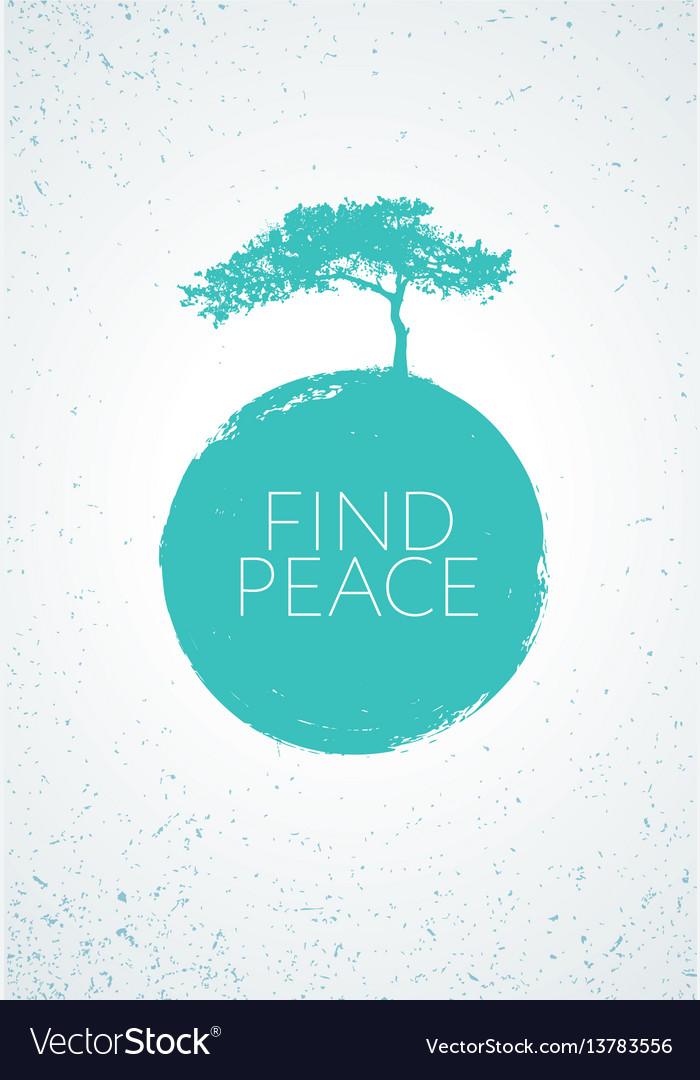 Find peace creative minimalistic zen poster vector image