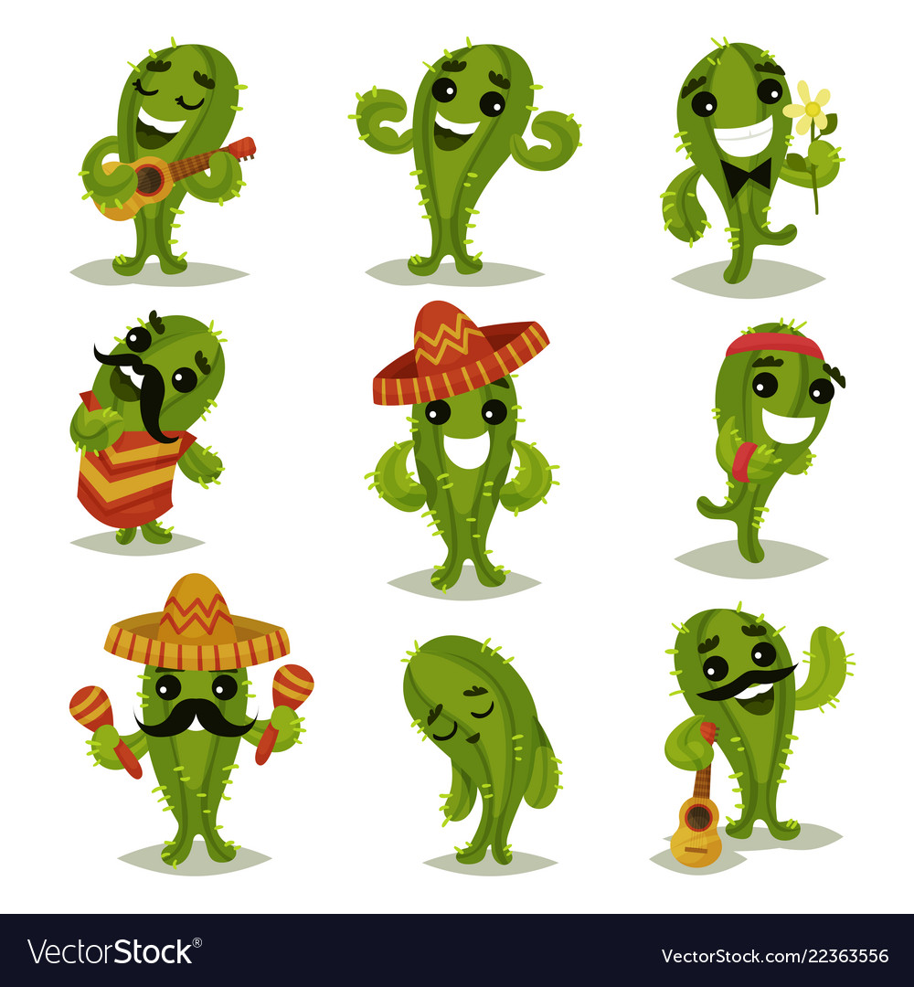Flat set of funny green cacti in different