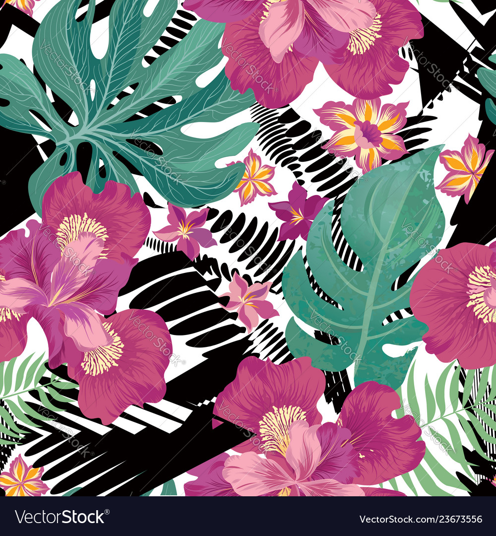 Floral Seamless Pattern Tropical Flower Background