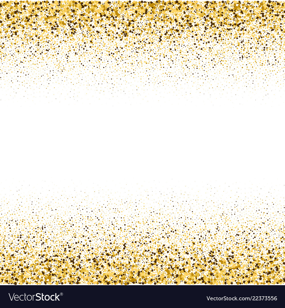 Gold frame glitter texture isolated on white