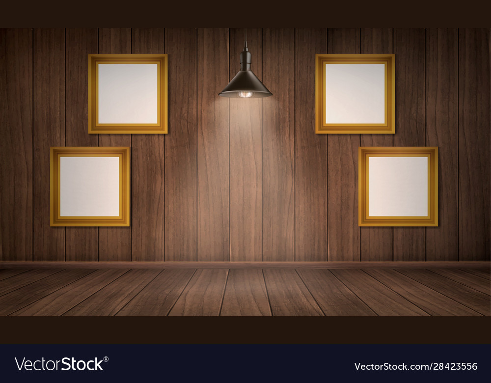 Interior wooden room with frames and lamp