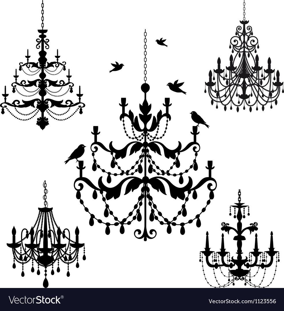 Vintage chandelier set vector image