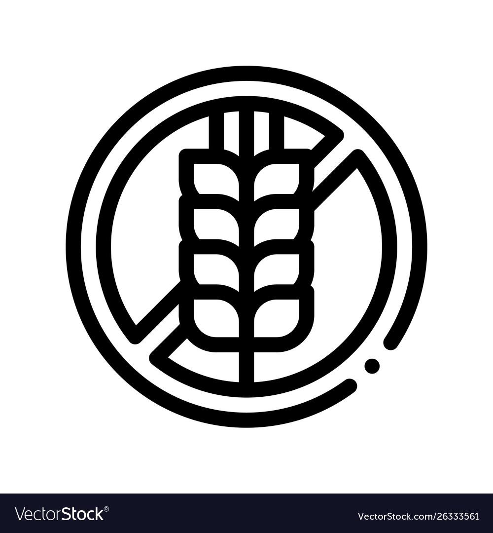Allergen free sign wheat thin line icon