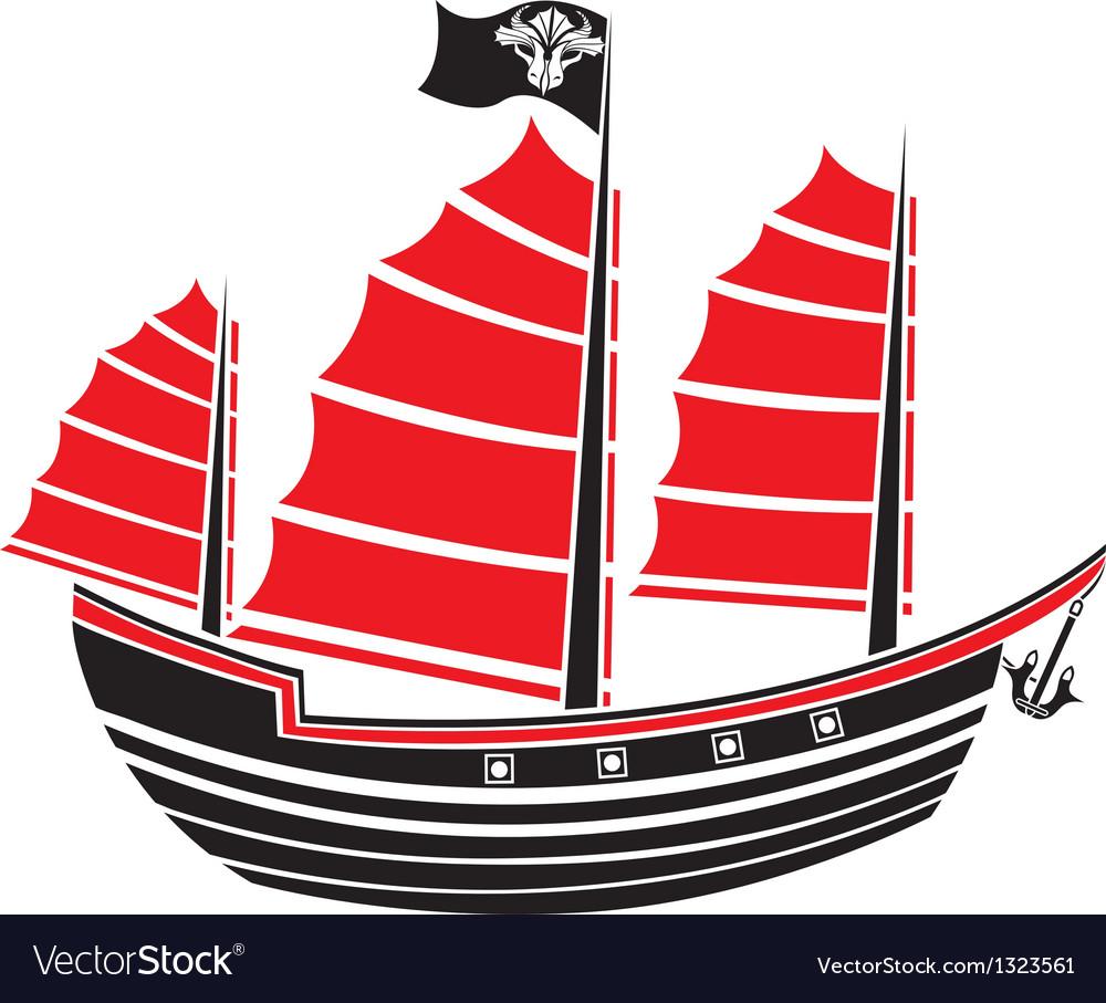 Asian boat stencil vector image