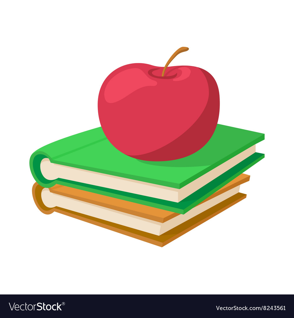 Books with apple icon cartoon style