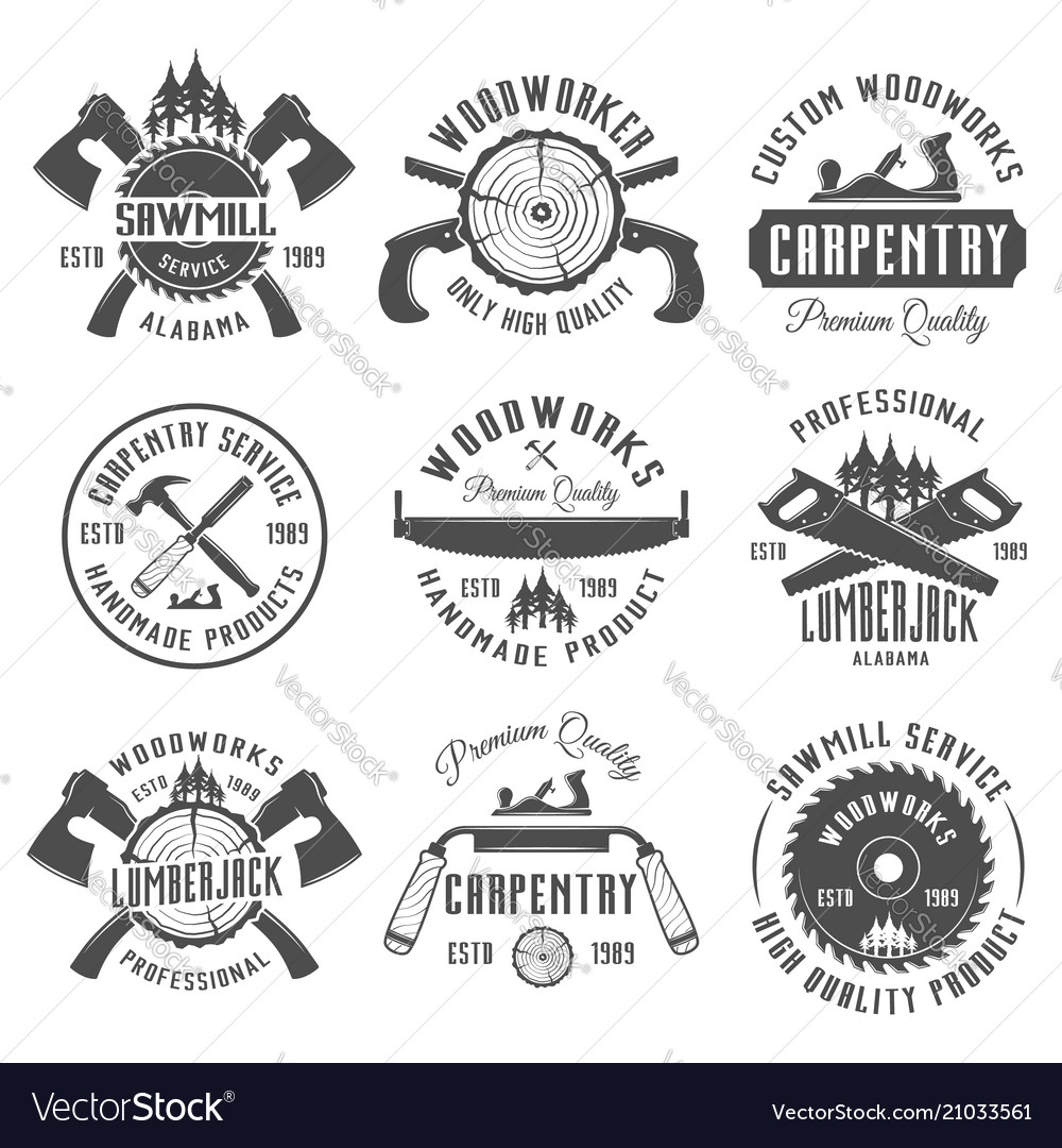 Carpentry and woodworkers vintage emblems