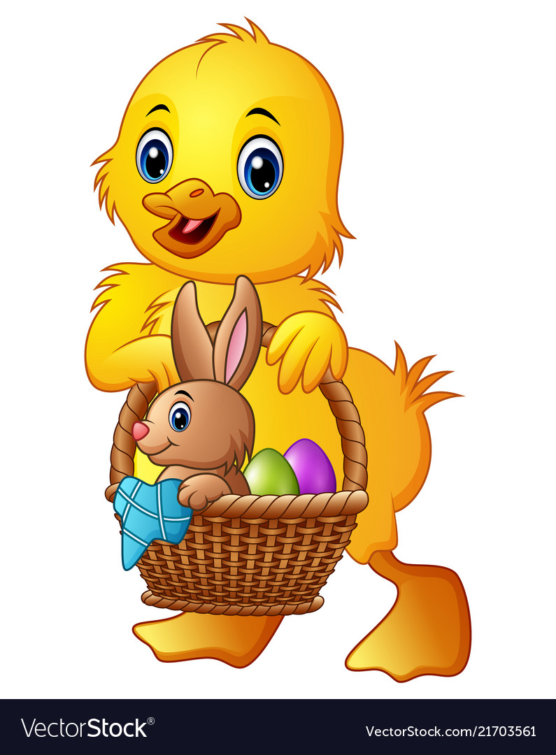 Cartoon baby duck carrying little rabbit and eggs