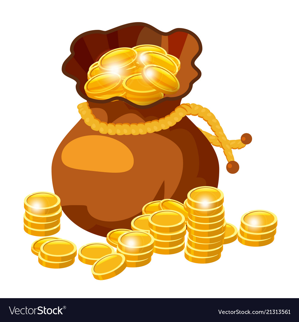 Cartoon big old bag with gold coins cash prize