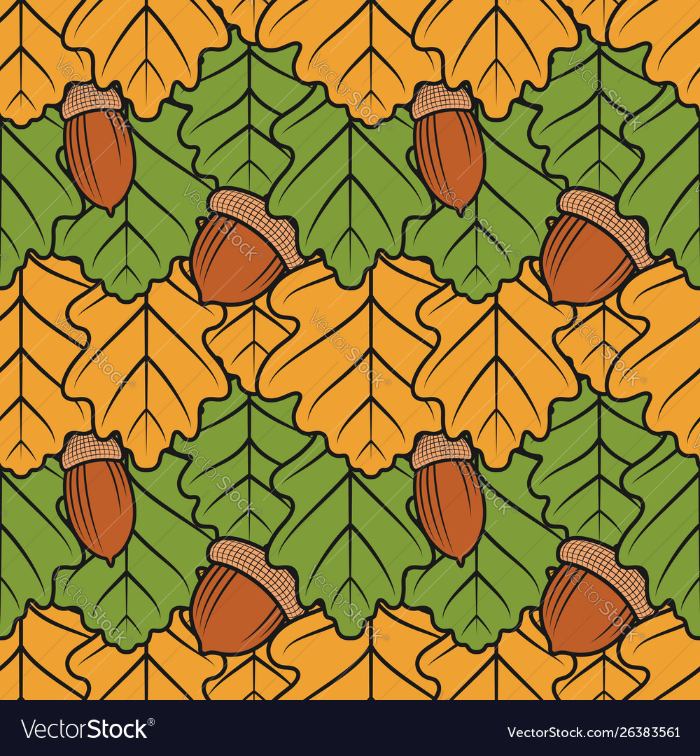 Color seamless pattern with oak leaves and acorns