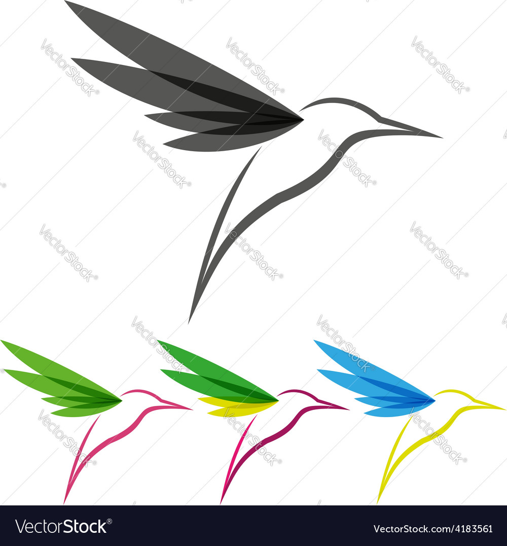 Colored stylized colibri vector image