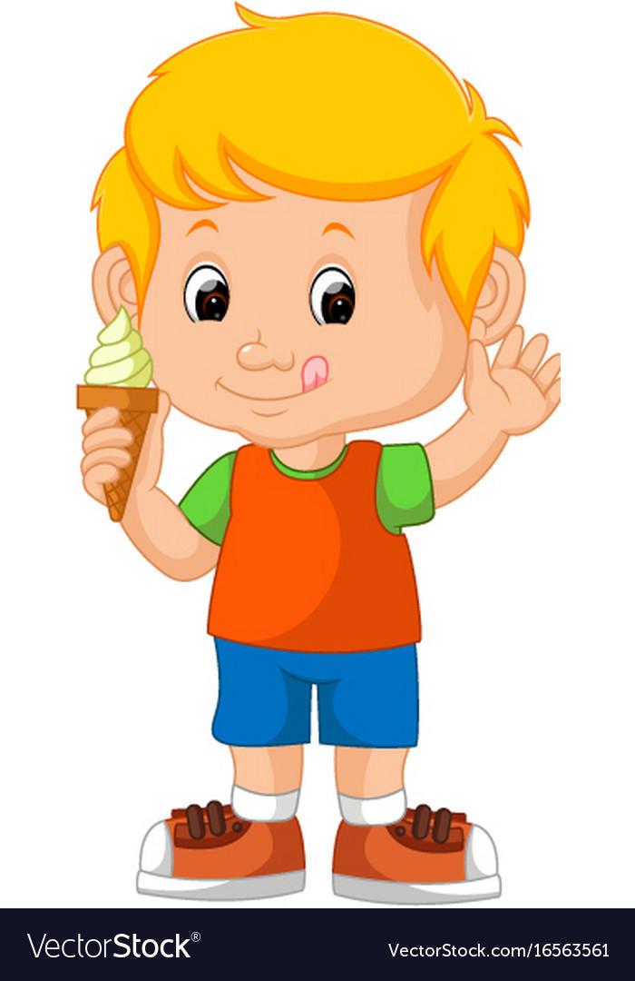 Cute boy licking ice cream vector image