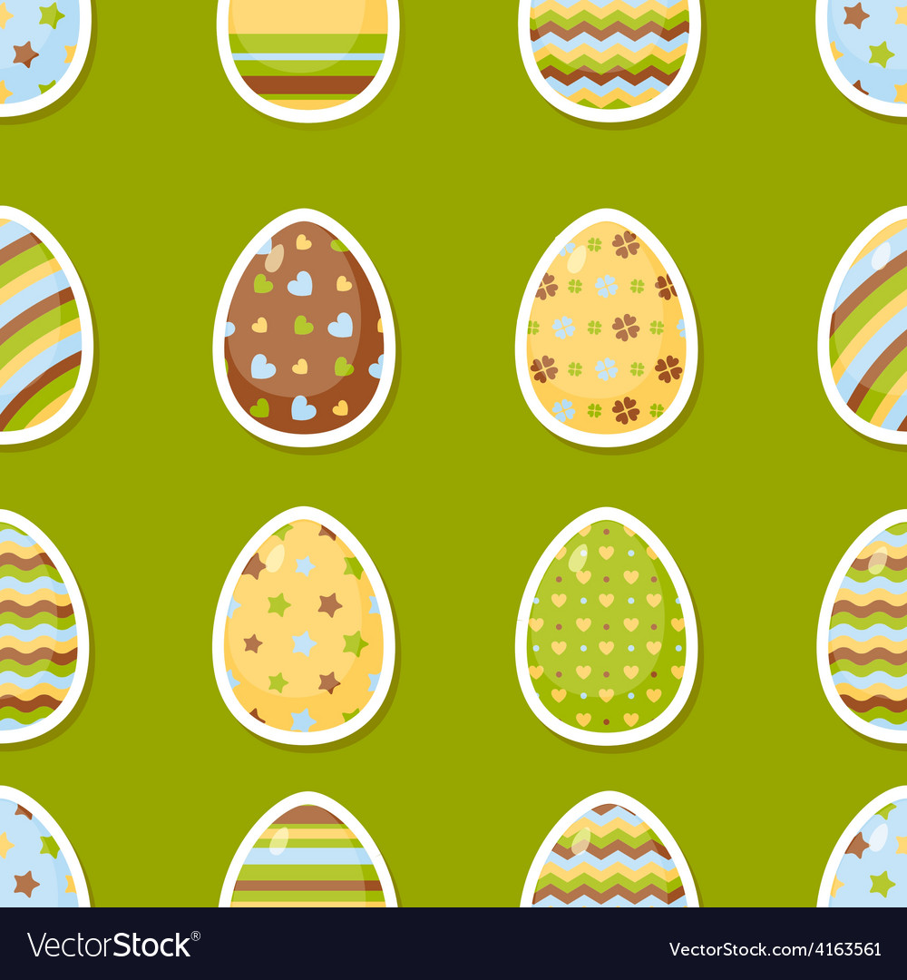 Easter pattern with colorful different eggs