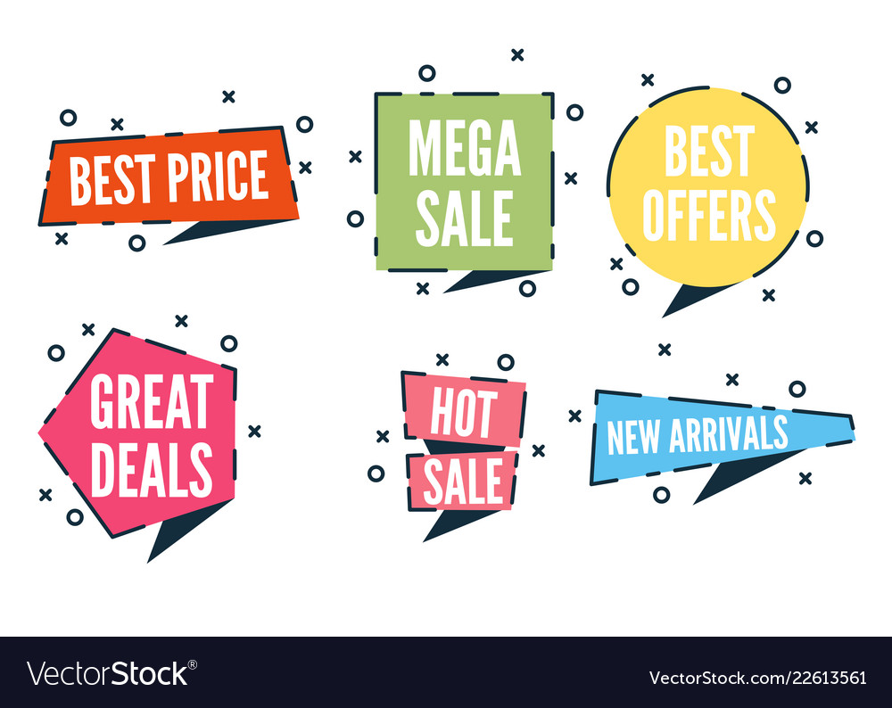 Flat colorful shaped banners price tags stickers