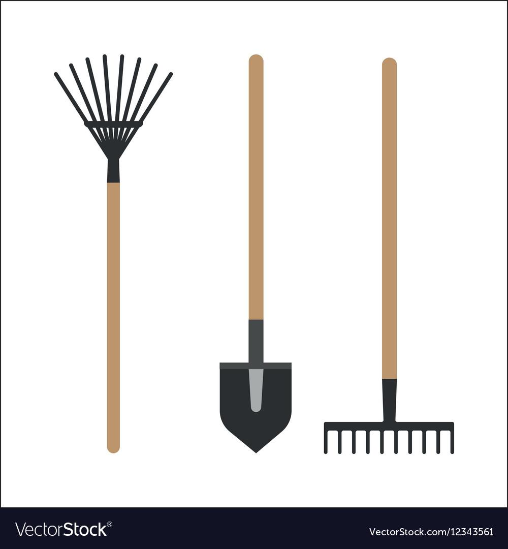 Garden rake equipment flat set