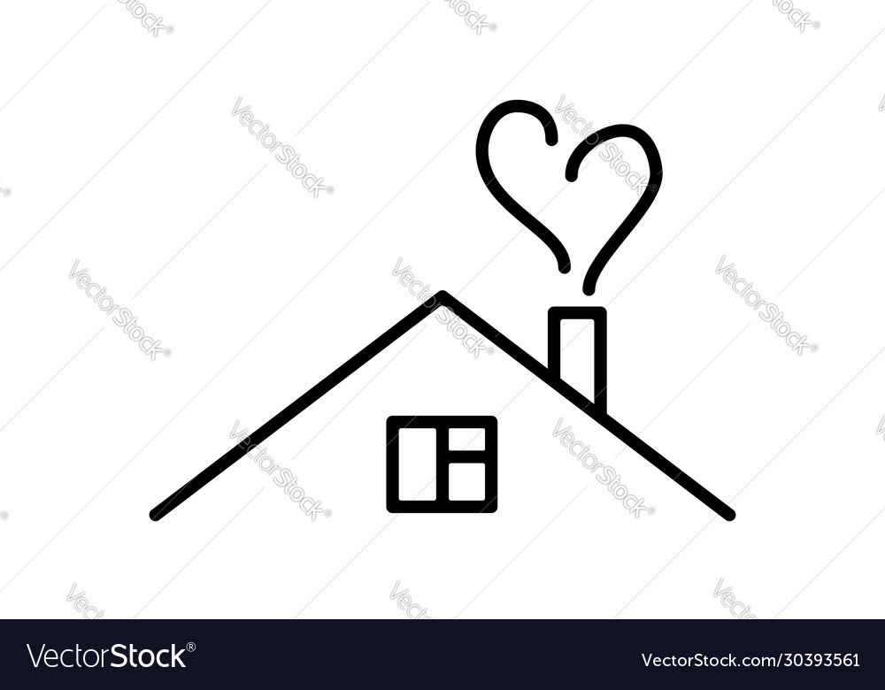 Line art house with heart