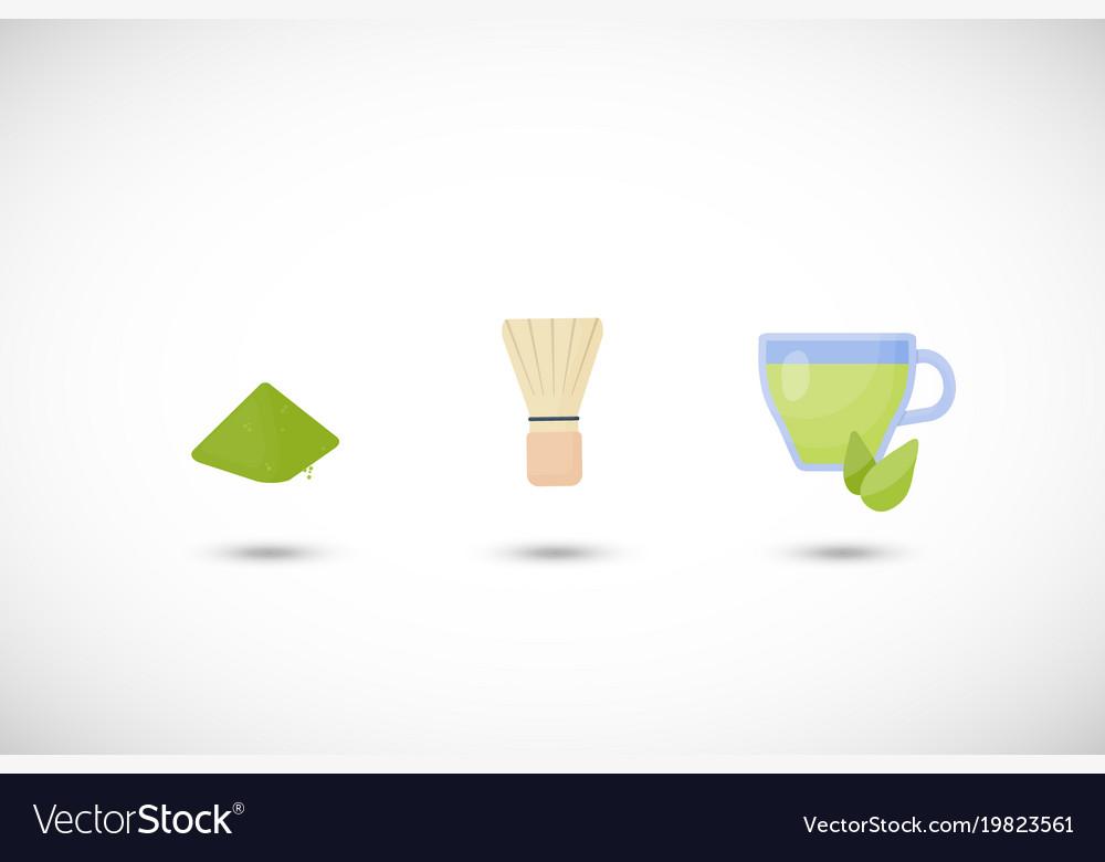 Matcha tea powder flat icon set vector image