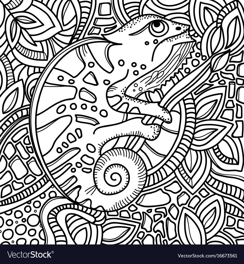 Page for color book with stylized chameleon