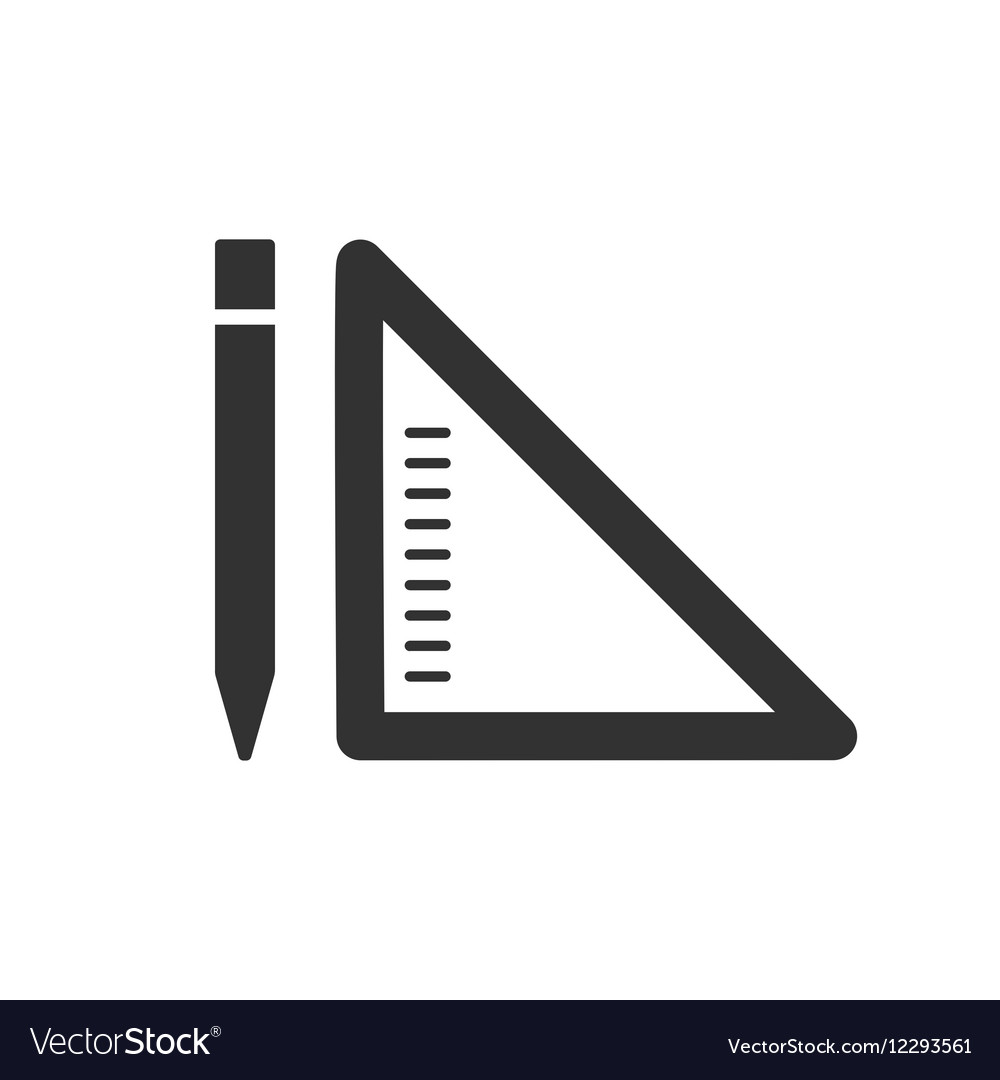 Pencil and ruler linear flat icon