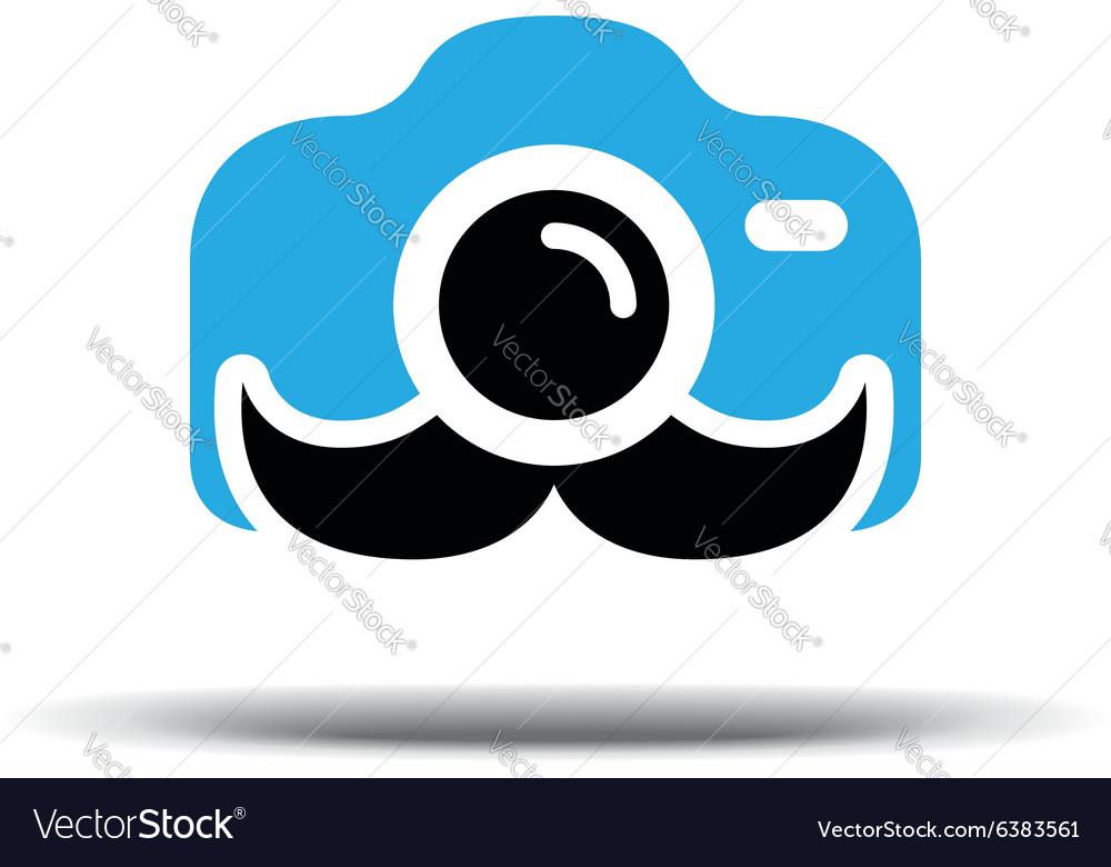 Photo logo design Fun camera with a mustache