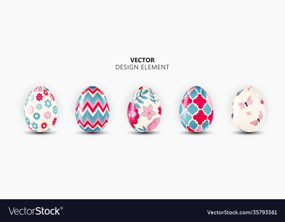 Realistic 3d easter egg design element collection