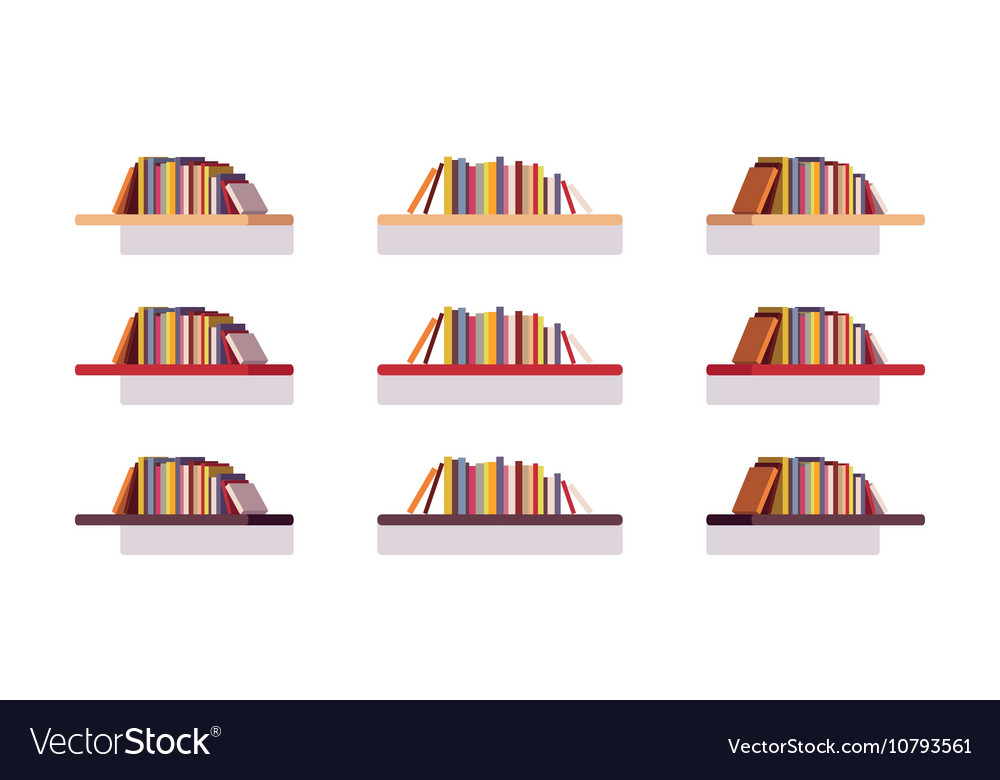 Set of retro flat bookshelves