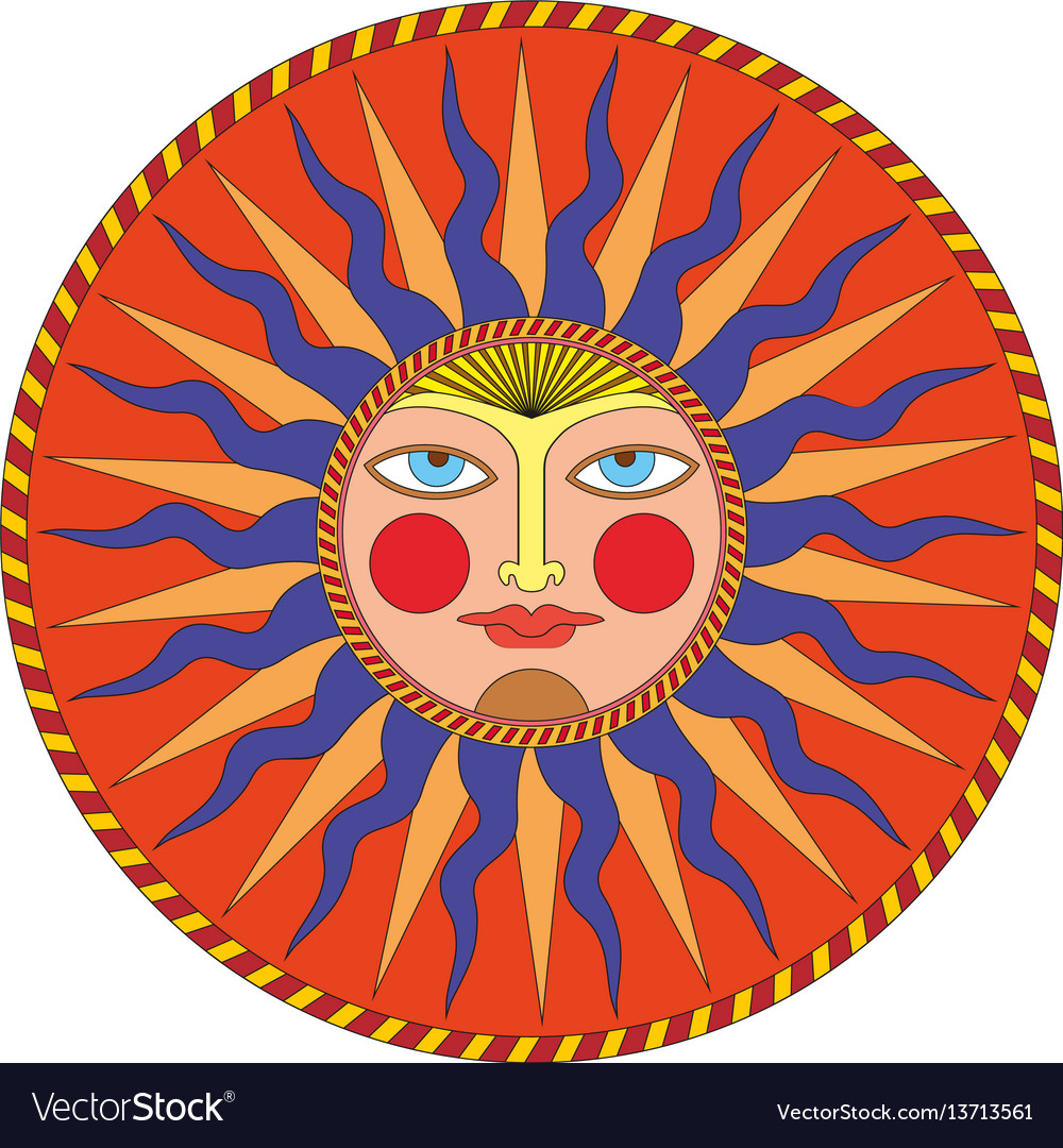 Summer sun in russian style ornamental decoration vector image