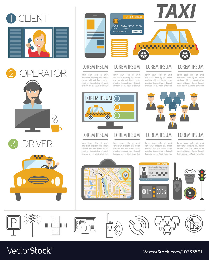 Taxi infographic template Flat design
