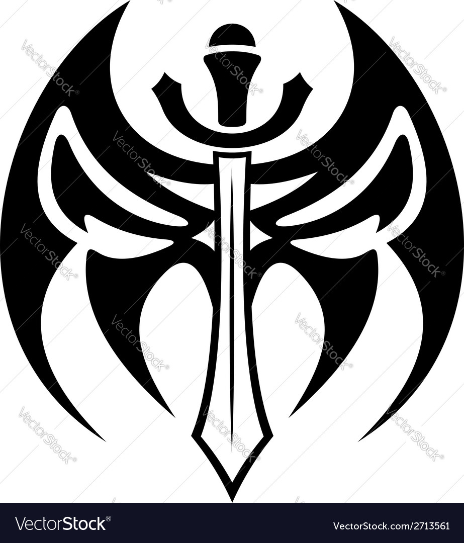 tribal sword tattoo royalty free vector image vectorstock rh vectorstock com Sword and Shield Tattoo tribal sword and shield tattoo