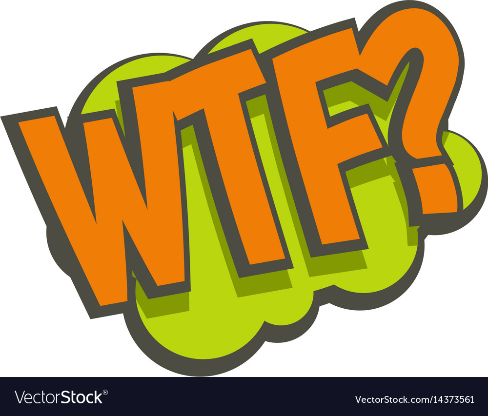 Wtf comic text sound effect icon isolated