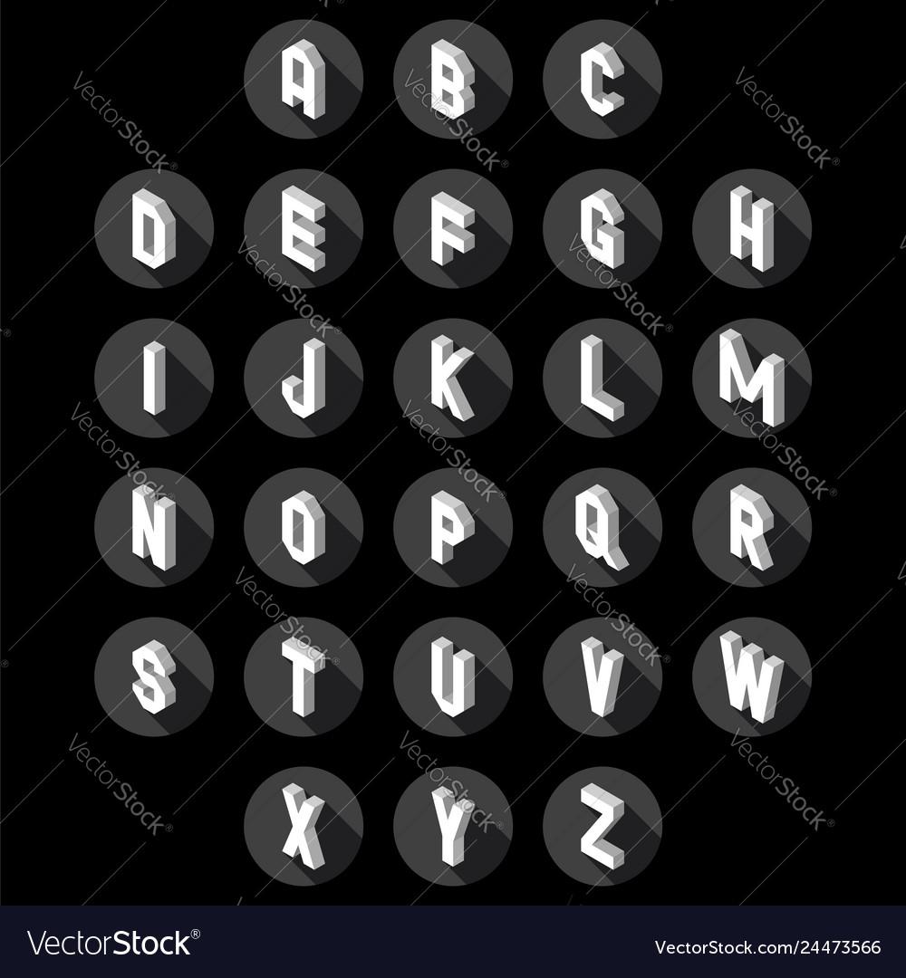 3d flat style font set of alphabet letters