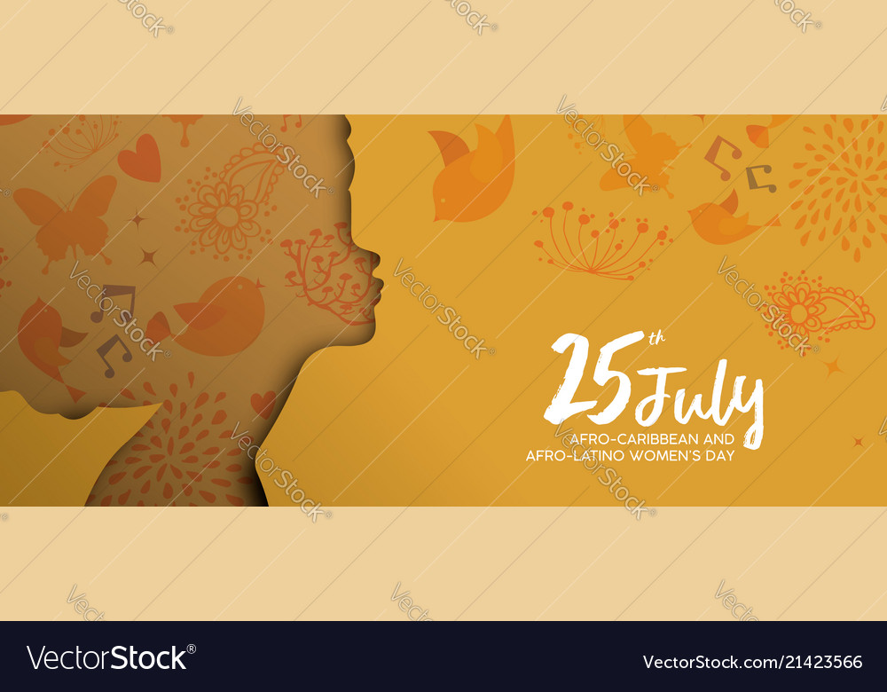 Afro caribbean latino woman day paper cut banner