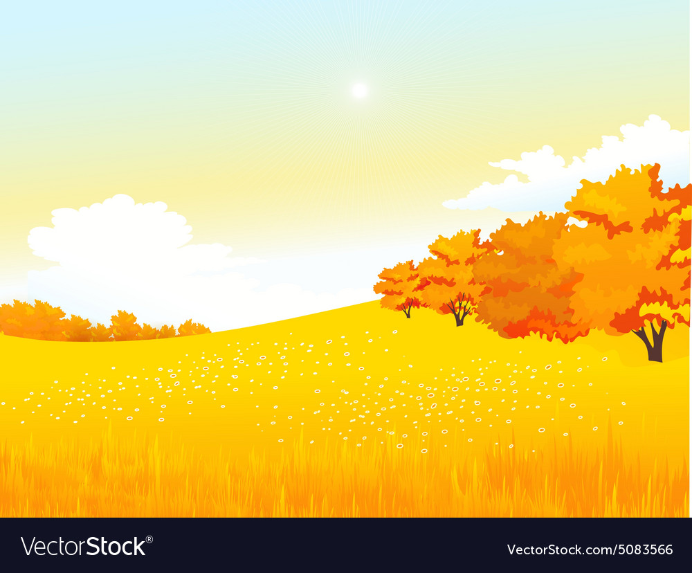 Autumn rural landscape with meadow and