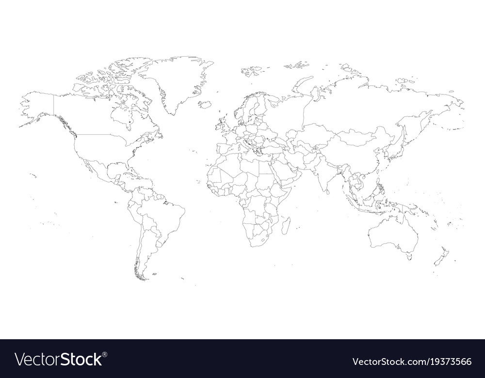Blank outline map of world worksheet for Vector Image
