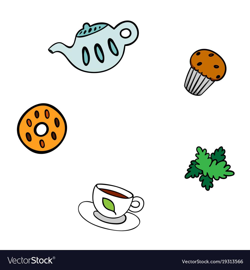 Cartoon template for menu teapot cookie cup