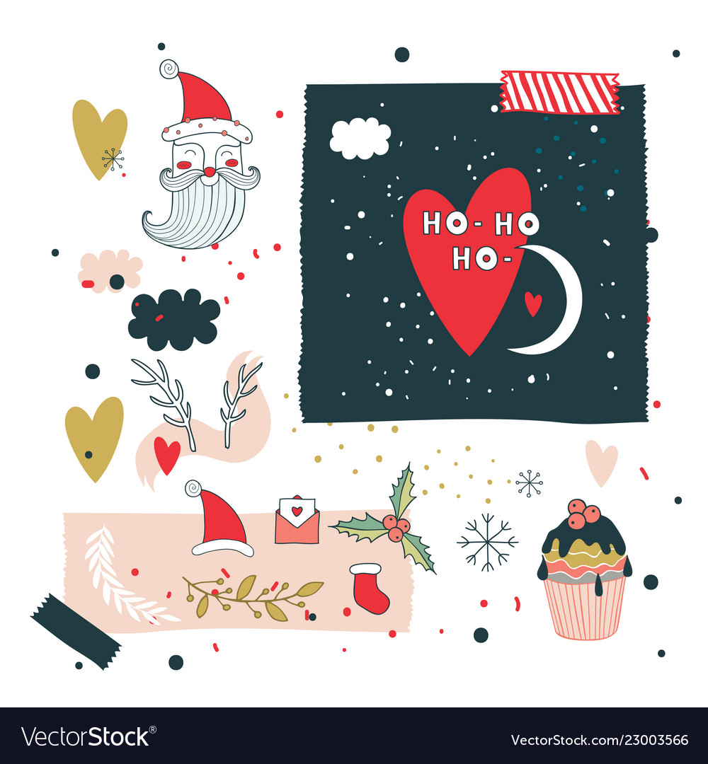 Christmas and new year design elements set santa