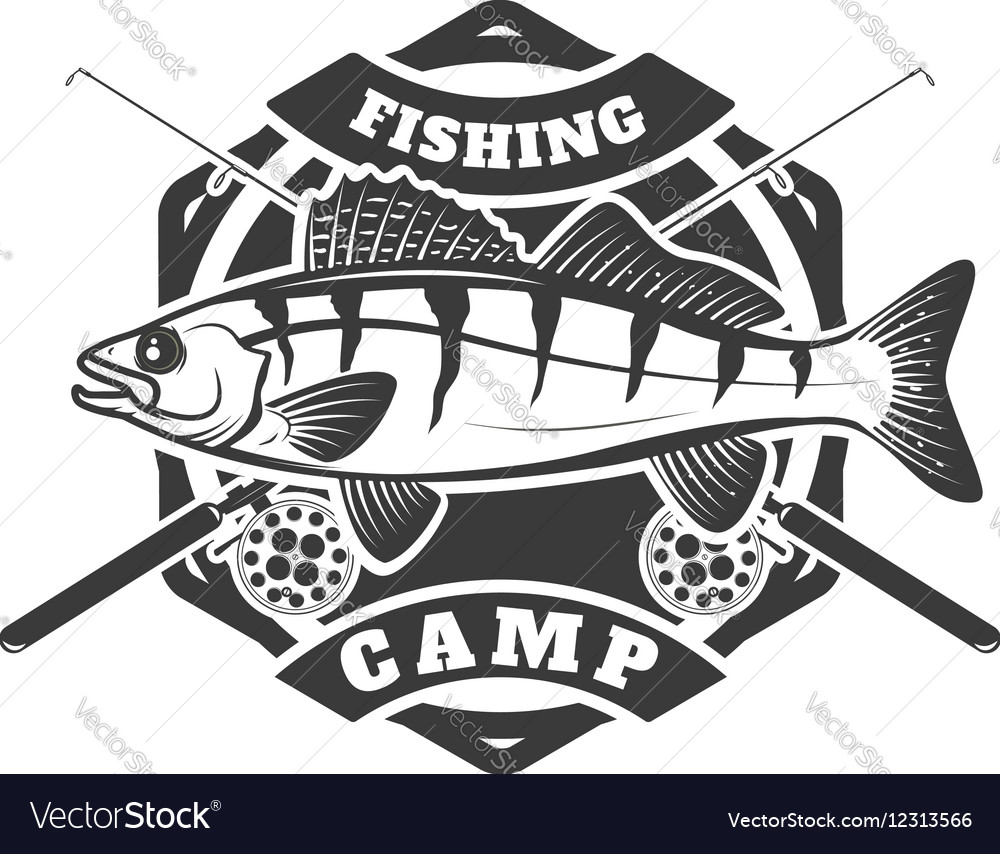 Fishing camp emblem template on white background vector image