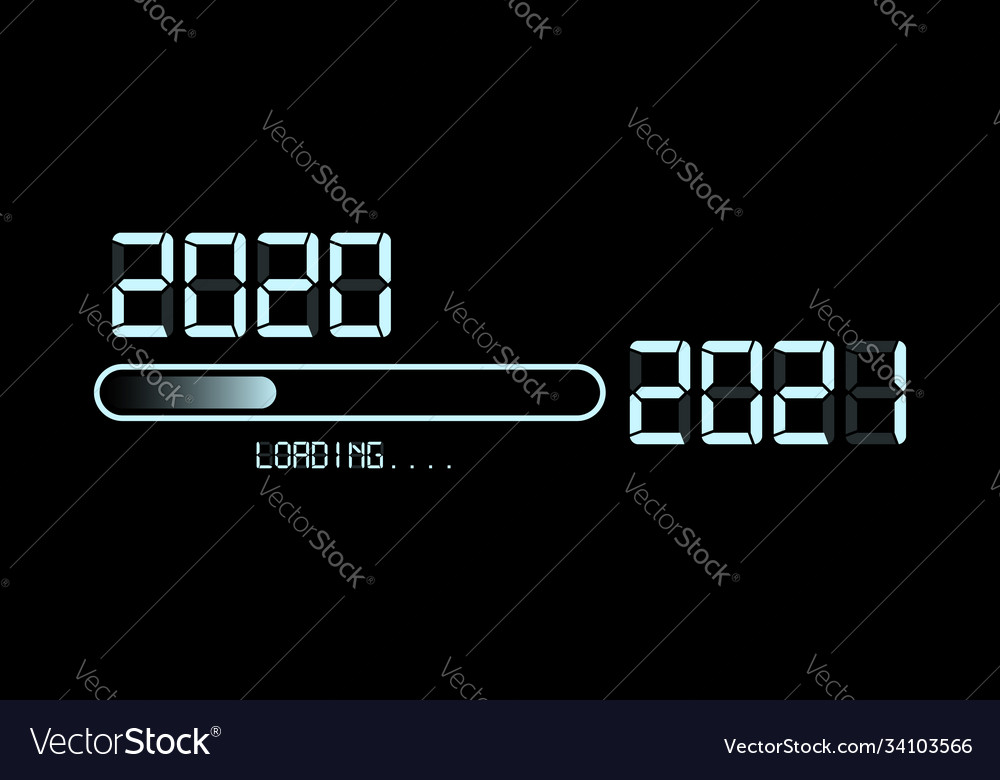 Happy new year 2020 with loading to up 2021 neon