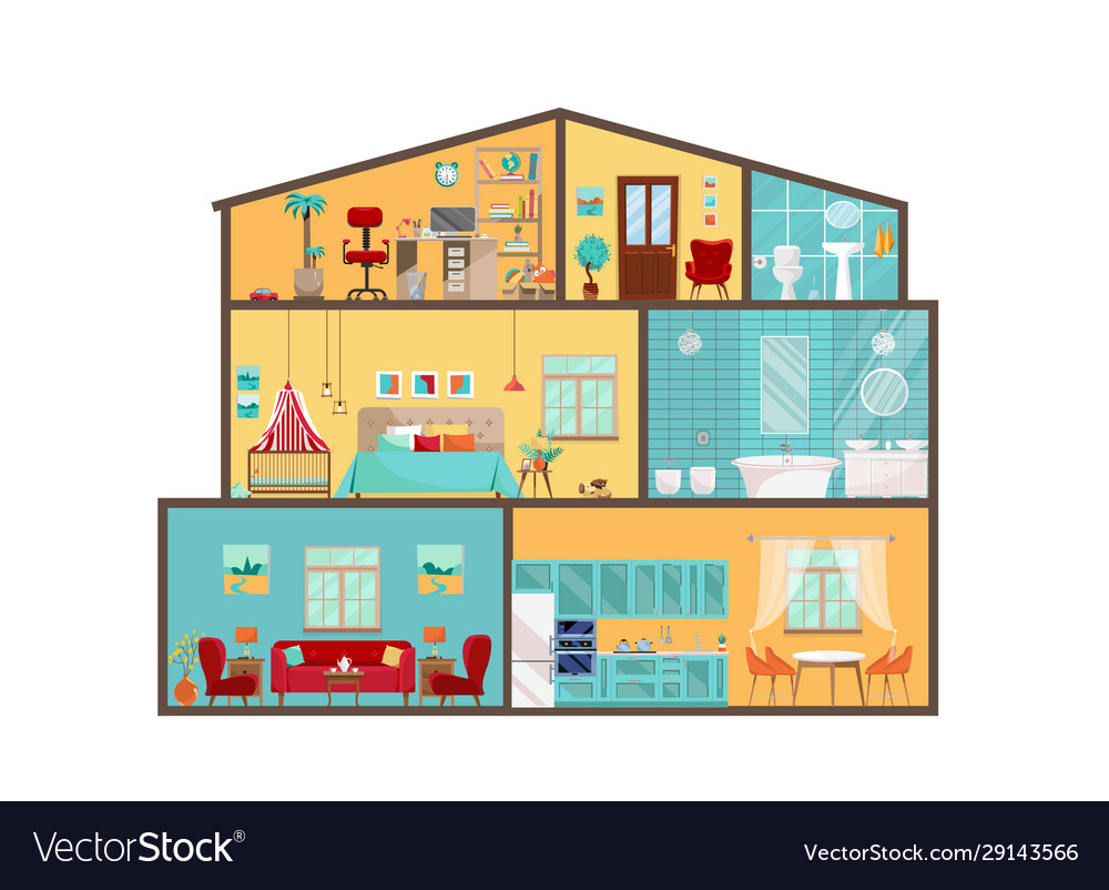 Inside Detailed Interiors With Vector Image