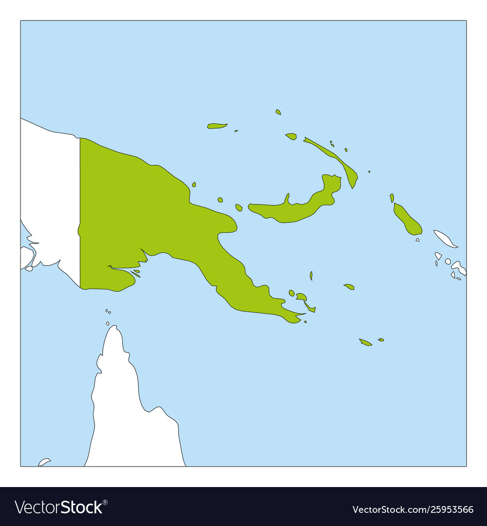 Map papua new guinea green highlighted with