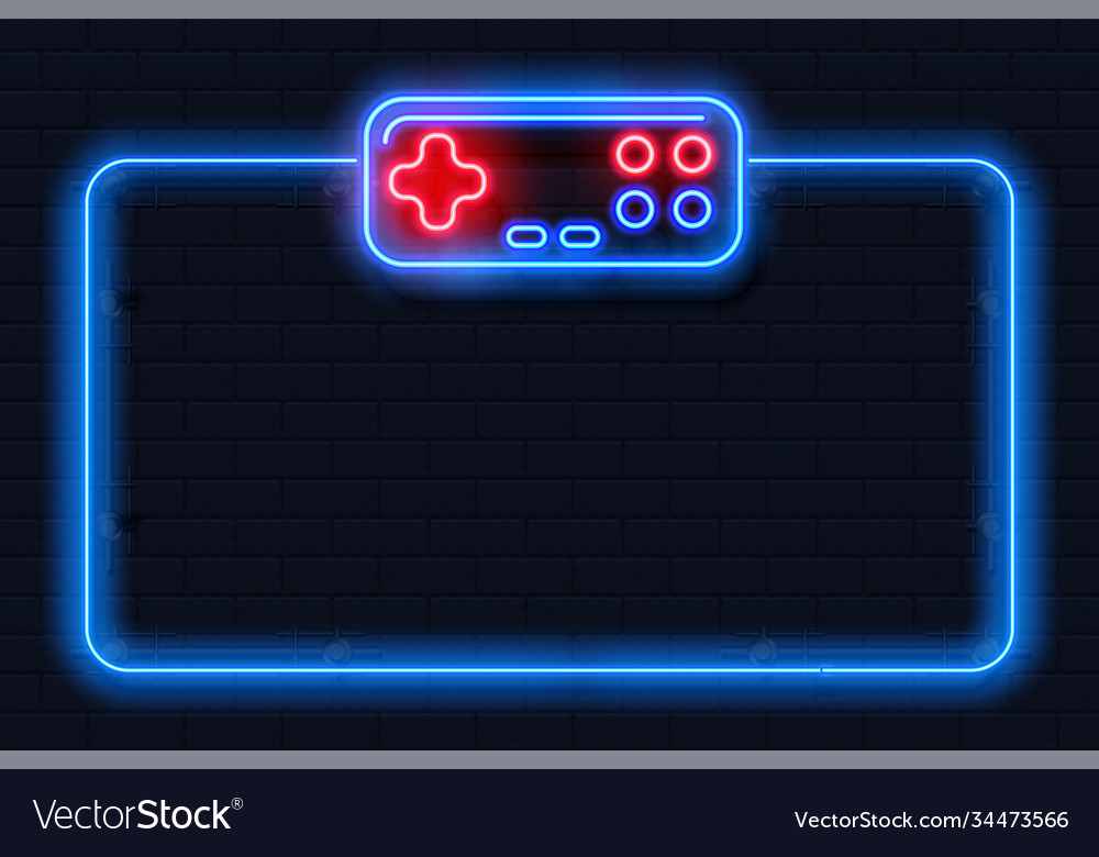 Neon game background square shape with joystick